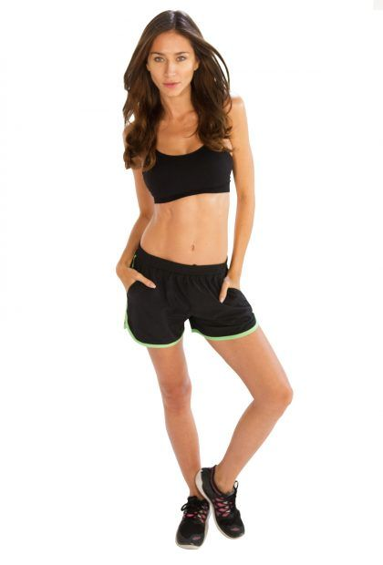 #Black #Shorts With #Neon #Green #Piping @alanic.com