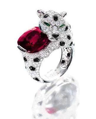 Rare 10.62-Carat Burmese Mogok Ruby, Onyx and Diamond 'Panther' Ring, Monture Cartier