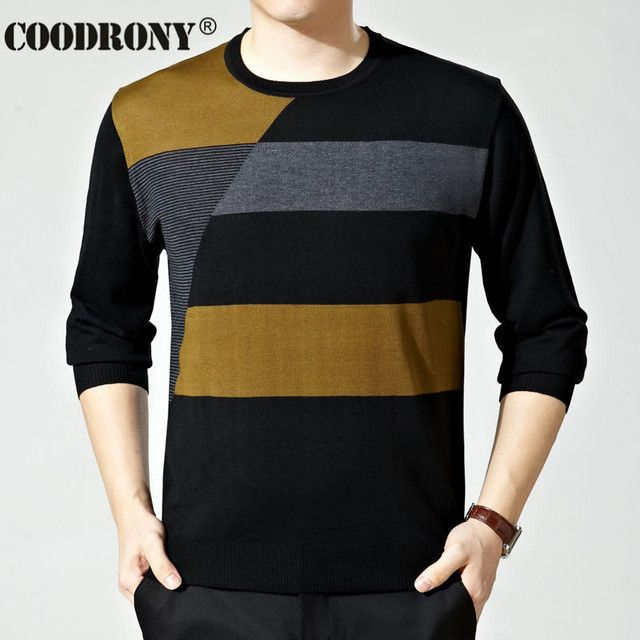 Free Shipping Top Quality O-Neck Pullover Men Wool Sweaters Striped Pull Homme 2016 Autumn Cashmere Sweater Brand Clothing 66107