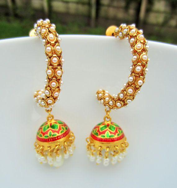 Red Chandelier India: Pearl Chandelier Earrings, Red Green Meenakari Jhumkas