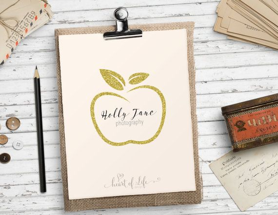 Pre made logo design, Apple logo,  Gold glitter logo, by HeartOfLifeDesign