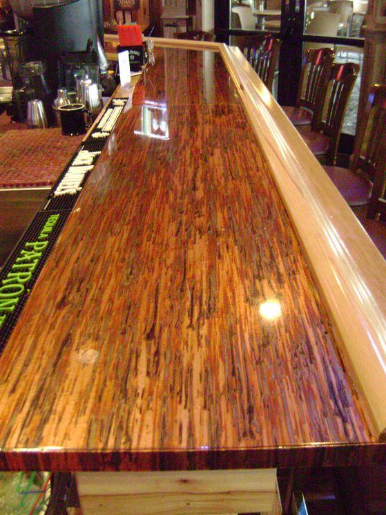 Maverick's Steak & Cocktails Restaurant - Aberdeen, South Dakota  Enchantment Patina Copper Bar with the Pattern Running Longways #colorcopper #copper #BarTop