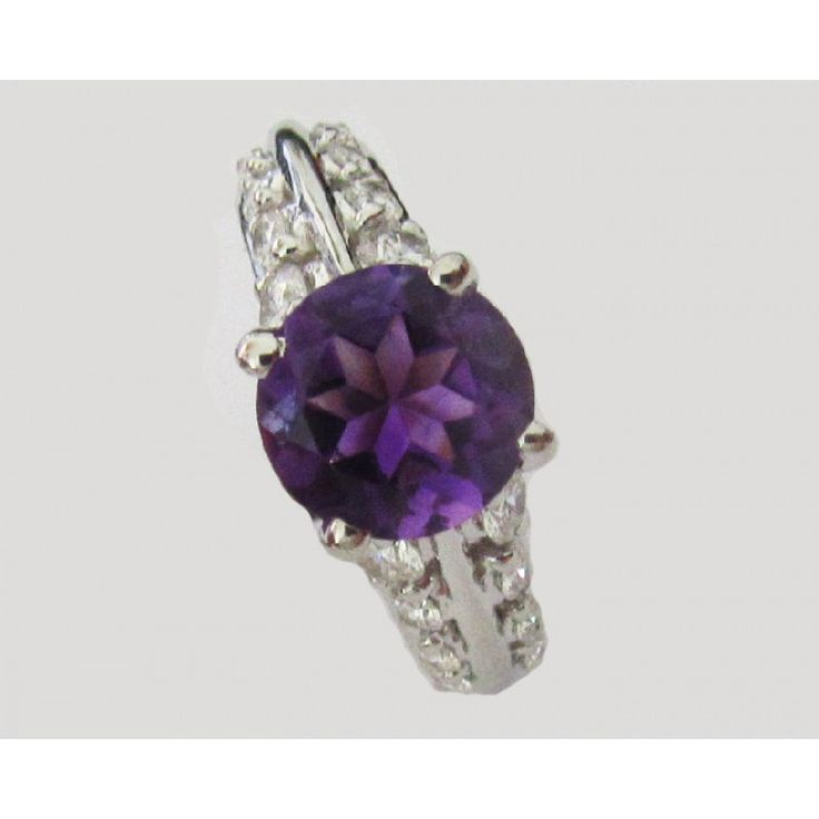 Amethyst Ring, Engagement Ring, Purple color, 18K White Gold, set with 0.88 ct. VS Diamonds - Lianne Jewelry