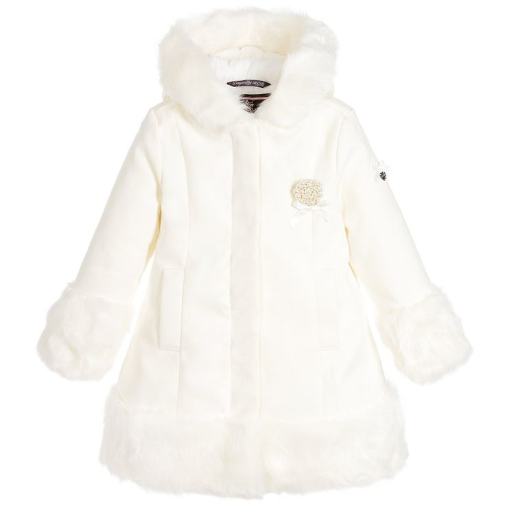 Le Chic Girls Ivory Wool Hooded Coat with Fur Trim & Brooch at…