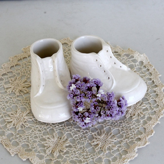 Set Of White Porcelain Baby Shoes 8 00 Porcelain Shoe