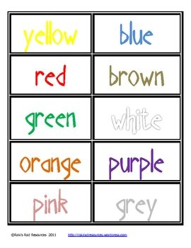 Here are some simple, cute cards to fill your word wall, using color words, with each color word created in the color it is describing.  There are ...
