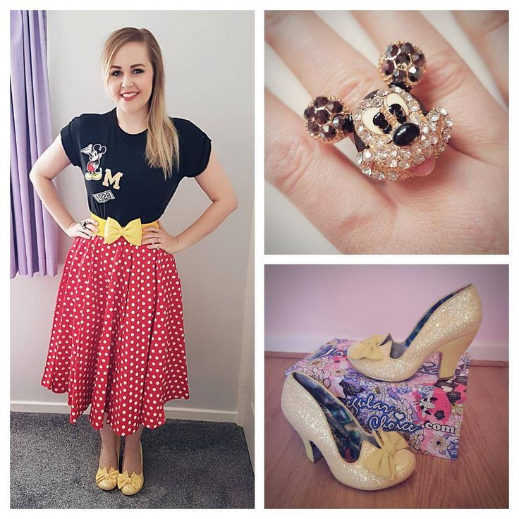 "169 Likes, 16 Comments - Heather Day (@heatherdaydreamer) on Instagram: ""Ready for the Irregular Choice Mickey Mouse & Friends launch today! ❤️💛🖤 T-shirt: #primark Skirt:…"""