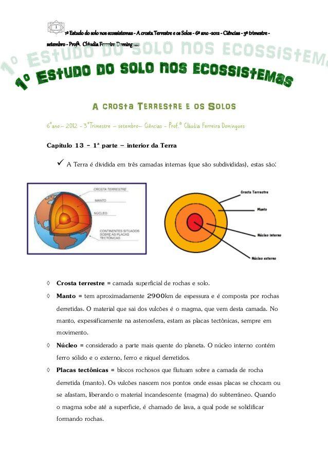 1º estudo do solo nos ecossistemas a crosta terrestre e os