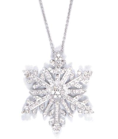 14k White Gold Diamond Snowflake Necklace only $1,795.00 - Snowflake Jewelry