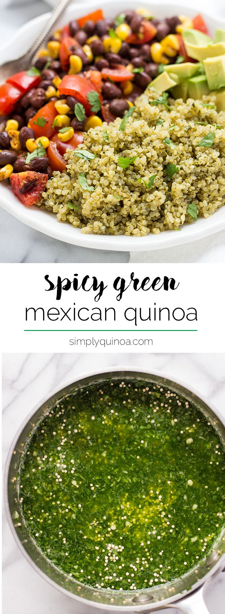 Tasty mexican quinoa recipes on pinterest easy vegan dinner spicy green mexican quinoa ccuart Images