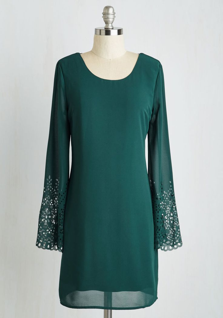 Midnight Merriment Dress. Long after the clock strikes twelve, the charms of this forest green frock continue on! #green #modcloth