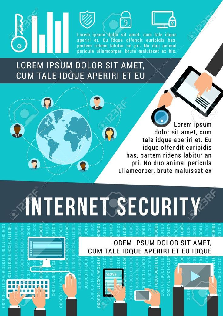 Internet security banner for data protection technology concept. Computer, mobile phone, tablet and laptop, connected to network with lock, shield and…