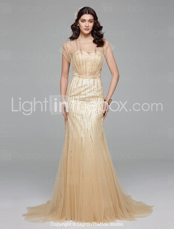 Lanting Bride® Syrena Suknia ślubna Prostě fantastické Kolorowe suknie ślubne Tren sweep Wcięcie V Tiul z Koraliki 4937800 2017 – €176.39