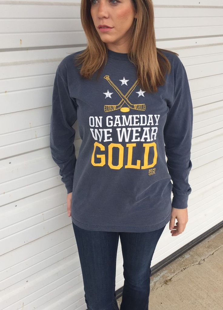 On Gameday We Wear Gold Comfort Colors by give her six! Nashville Predators hockey!