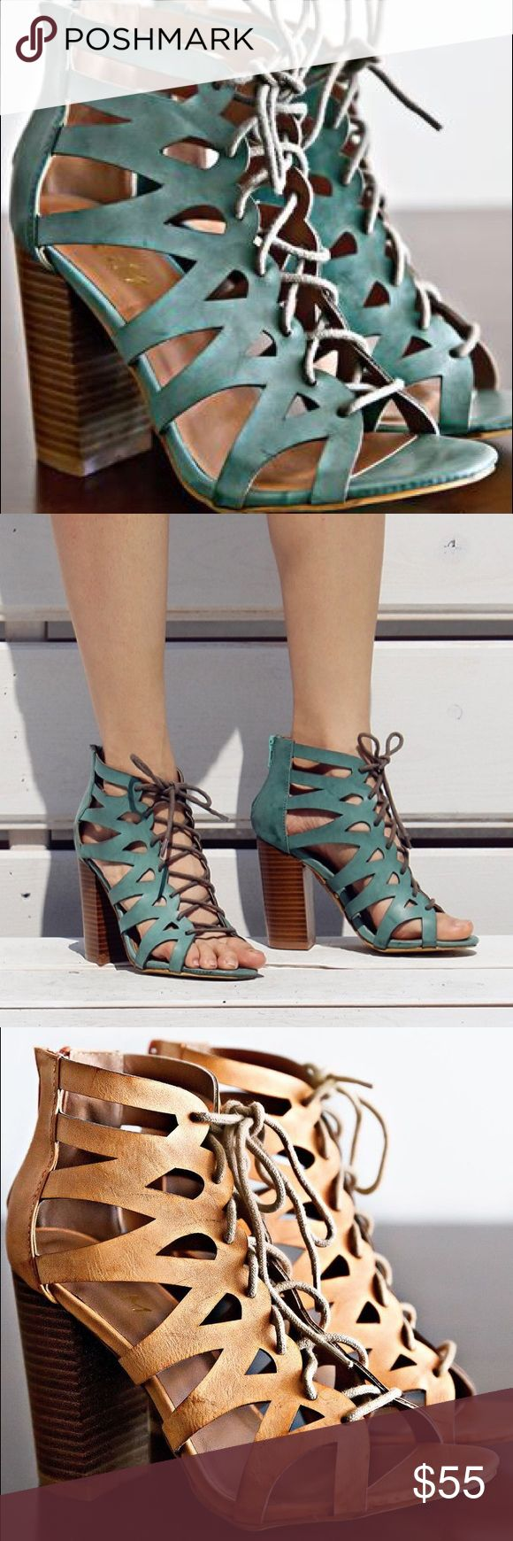 Ladies high top lace up chunky heel sandal.Torques Summer is here! Walk in style with this stylish sandal, super comfy, hot color, brand new in box, man made material, 3-4 inches hells, true to size. Available in orange and and rose colors. NO TRADES shoeroom21 boutique Shoes Heels