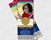 OLYMPICS TICKET INVITATIONS Birthday Party Gold Medal - (print your own) Personalized Printable