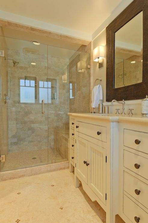 Beautiful Bathroom With Beige Walls Paint Color Trim Painted Sherwin Williams Alabaster Ivory Bathroom Vanity Travertine Countertops Beadboard