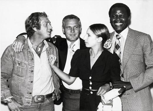 Steve McQueen, Barbra Streisand & Sidney Poitier, 1972