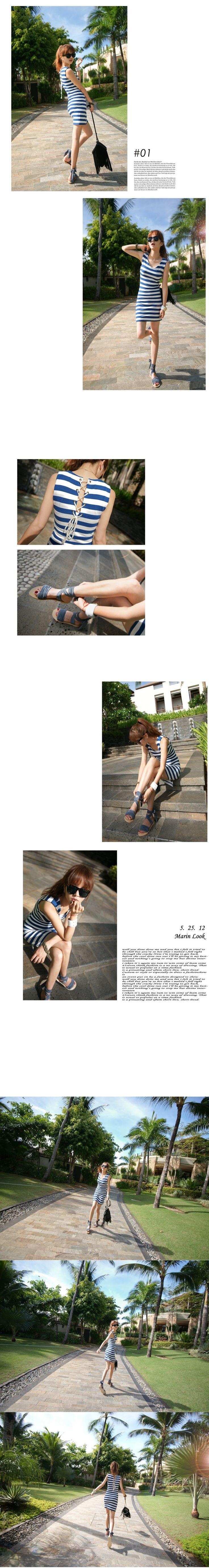 korean fashion girl-Corset striped dress (2colors) $39 on kstargoods.com (The best kpop shop)