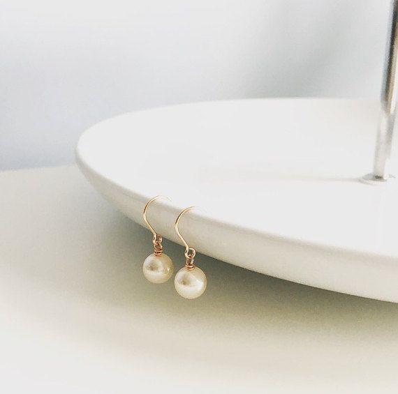 Rose gold earrings pearl earrings 14kt rose by CharlotteFarrBridal