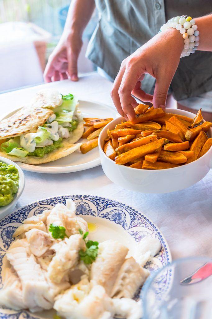 tacos au cabillaud et frites de patates douces