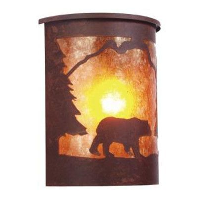 Steel Partners Bear 1 Light Outdoor Flush Mount Finish: Architectural Bronze, Shade Type: Slag Glass Pretended