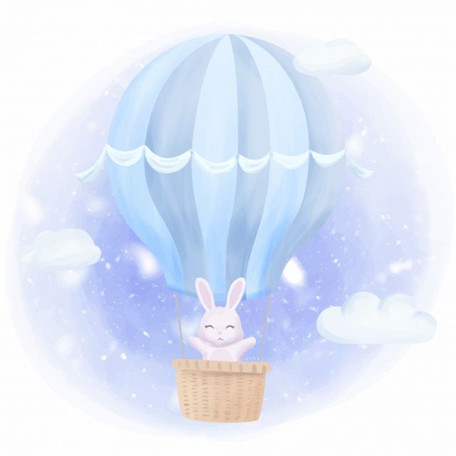 Rabbit Bunny Fly High With Air Balloon Adorable Animal Art Png