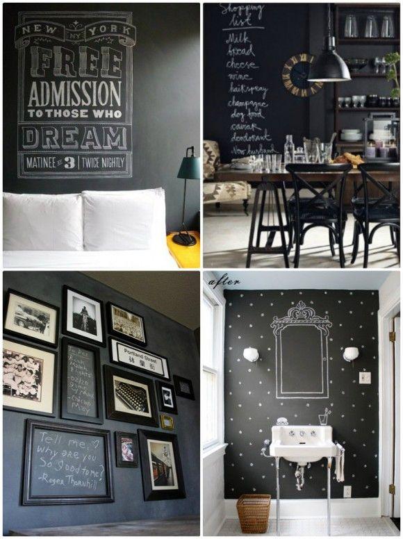 Noir Sur Le Mur Dans Le Cuisine sur Pinterest  Murs en tableau noir ...