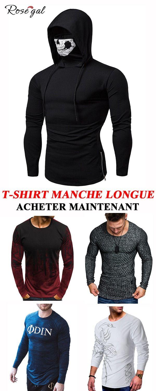 f91c6157029ff Cool T shirt Manche Longue du Printemps pour Hommes #Rosegal #homme #tshirt