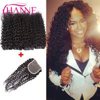 7A Virgin Peruvian Curly Hair 5pcs/Lot Kinky Curly Hair Lace Closure With Bundles Cheap Peruvian Curly Virgin Hair With Closures