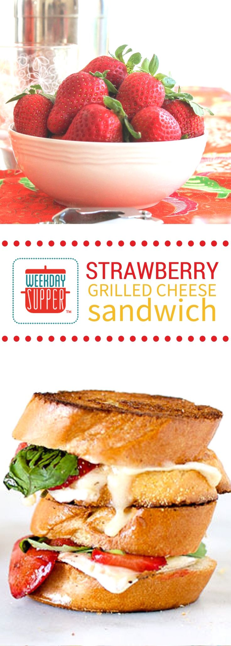 Rich creamy Brie is the perfect counterpoint to the balsamic roasted strawberries in these perfectly decadent Strawberry Grilled Cheese sandwiches. Make a pile for your #WeekdaySupper tonight!