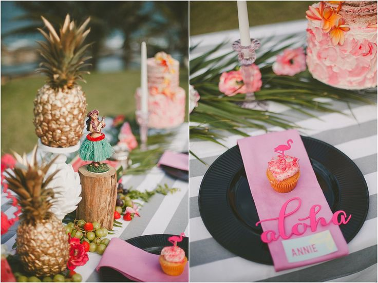 Flamingo cupcakes, gold pineapples and a hula girl for your tropical themed bridal shower  - Photo by Kelly Daniels Photography