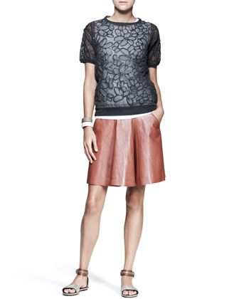 Flower-Embossed Chiffon Top, Leather Swing Skirt & Leather Cuffs by Brunello Cucinelli at Neiman Marcus.