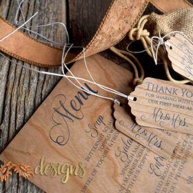 Real Wood Veneer Menus and Gift tags! Add a little upscale rustic to your wedding day with these menus and tags printed on REAL wood.