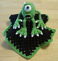Monster Mike Lovie Blankie by Knotty Hooker Designs - This pattern is available for $2.75 USD. This is also a 2-in-1 pattern. Make a doll using the same pattern! It measures appx. 16 inches square.