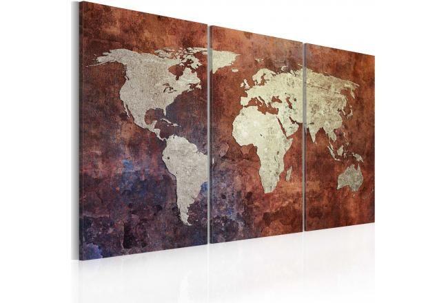 Quadro su tela Mappa del mondo rugginosa: trittico 55408