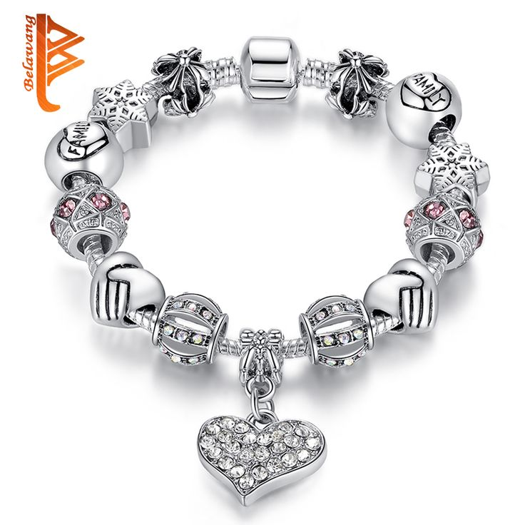 Luxury Brand Women Bracelet Silver Plated Crystal Charm Bracelet for Women DIY Beads Bracelets