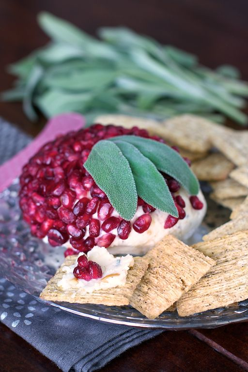 Pomegranate, Sage and White Cheddar Cheeseball. Just spread over crackers and enjoy. Perfect app for any occasion.