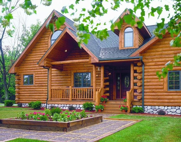 Log home photos log home exteriors expedition log for How to stain log cabin