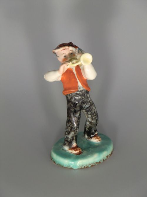 Bohemian Czech Ditmar Urbach Pottery Trumpeter Figurine