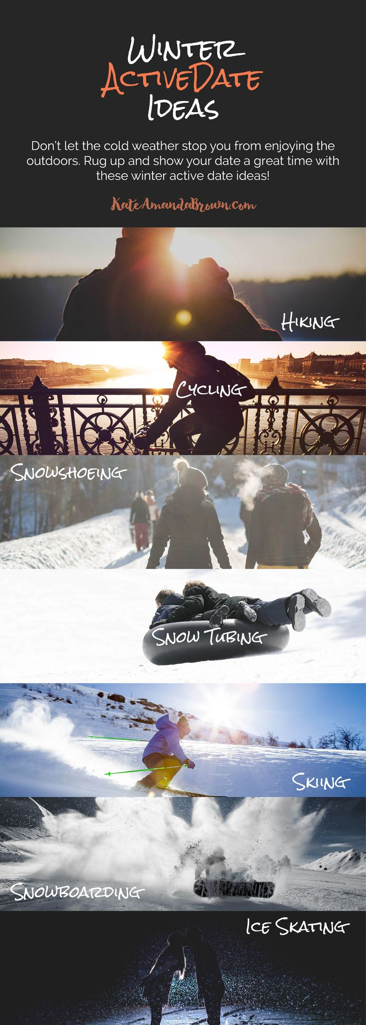 Don't let the cold weather stop you from enjoying the outdoors. Rug up and show your date a great time with these winter active date ideas! Kate Amanda Brown | Healthy Lifestyle by Design | winter date ideas, outdoor date ideas, active dates, fit couple, date ideas for cold weather