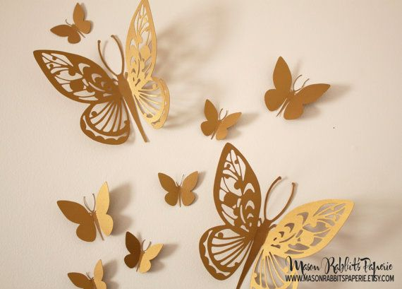 3D Gold Butterfly Wall Decal Set for Weddings, Wall Decor, Nursery Room Decor, Party Decor, Photography Backdrop via Etsy
