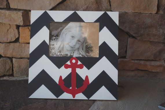 Hand Painted Red Anchor Picture Frame  Navy by CourtneyRaeFrames, $38.00