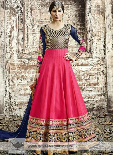 Coral & Navy Blue Embroidered Georgette Anarkali Suit #Designersuit #Coral #Anarkali #Partywear #Suit #Indiaemporium