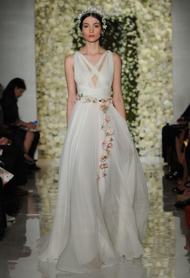Criss Cross Neckline Wedding Dress | Reem Acra Wedding Dresses Fall 2015 | Maria Valentino/MCV Photo | Blog.theknot.com