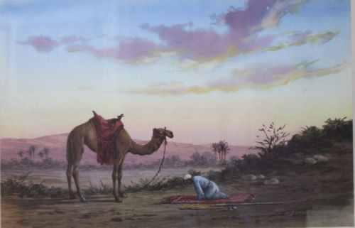 Watercolor-034-Islamic-prayer-034-Signed-greek-painter-D-Vassiliou