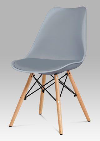 CT-741 GREY  Jídelní židle s nadčasovým vzhledem, je nejen pohodlná, ale také skvělým designovým doplňkem do moderní jídelny, kuchyně či pracovny. Zajímavě řešená podnož z masivního bukového dřeva v barvě natural s černými kovovými výztuhami, skořepina z šedého ABS plastu, sedák očalouněn koženkou. Nosnost této židle je do 110 kg.