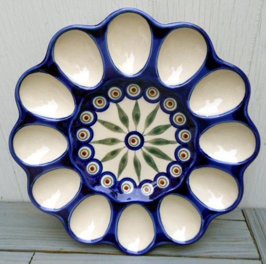 Inspiration: Pottery Peacock Deviled Egg Platter Boleslawiec Blue Green Serving