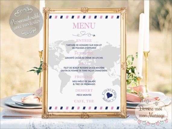 Tableau avec Menu personnalisé sur le thème Voyage. Plusieurs formats (de 20x30 cm à 60x80 cm) et supports (PDF, impression sur papier ou toile montée sur châssis ou sur plexiglass) s'offrent à vous. A partir de 20€ #mariage #mariagevoyage #menu #voyage