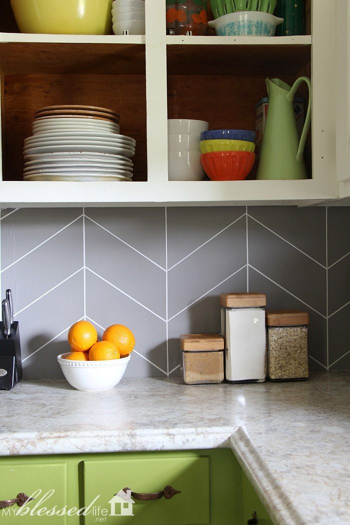Easy Diy Herringbone Tile Painted Backsplash Myblessedlife Net